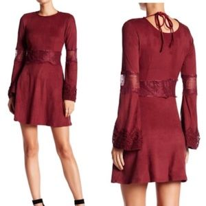 Romeo + Juliet Faux Suede Cranberry Red Boho Dress